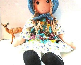 Vintage Holly Hobbie Cloth Doll Large, Knickerbocker Toys, The Original Sweet Patchwork Girl, Braids, Bonnet, Apron, Country, Best Friend