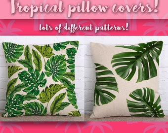 Botanical Throw Pillow Cover, Plant Print Cushion Covers, Monstera, Cactus, Tropical Leaves, Green Leaf Linen, Swiss Cheese, Home Dorm decor