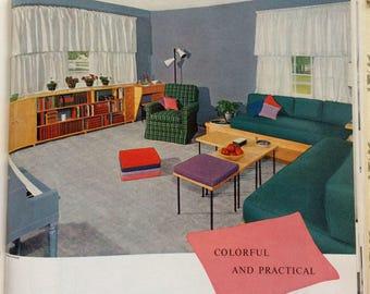 1950s Mid Century Modern House, MOD, Interior Decoration, Ladies Home Journal Book, 50s Home, Atomic Era, Book