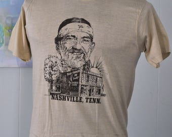 80s Willie Nelson Tee Nashviller Tennessee Tn Beige Tan 1980s Tee Country Singer Super Soft n Thin SMALL