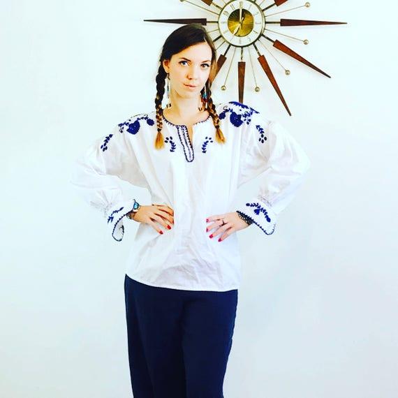 Vintage Mexican top, 70s bohemian blouse, vintage peasant blouse, boho hippie shirt, ethnic blouse, peasant blouse, gypsy blouse, Mexico top