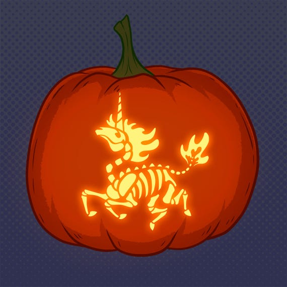 Zombie Unicorn Skeleton Halloween Pumpkin Carving Pattern