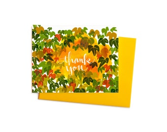 Boston Ivy  Thank You Notes, Fall Vine Boxed Set,  Thank You Card, Fall Colors, Thanksgiving Card