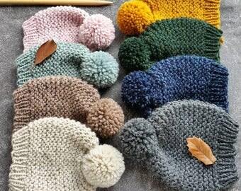 Knit Hat Pattern, Knitting Pattern, Pom Pom Hat Pattern, Knit Hat, Mens Hat Pattern, Knit Beanie Pattern, Womens Knit Hat, Baby Hat Pattern