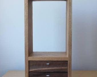 Small Modern Butternut Hanging Cabinet with Walnut Drawers