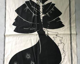 Vintage Aubrey Beardsley 1970s Art Fabric Panel Pillows Quilts