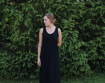 Womens Jersey Knit Tank Maxi Dress Organic Cotton Jersey Knit Women's - Handmade Clothing - Made in the USA - Allegany