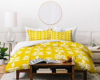 Yellow  Duvet Cover // Bedding // Twin, Queen, King Sizes // Home Decor // Abadi Sunburst Yellow Leaf Design // Tropical // Bedroom