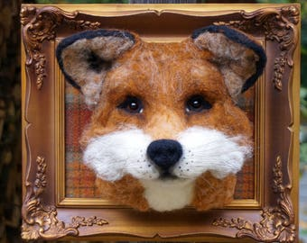 Needle Felted One of a kind Wool Faux Taxidermy Fox Soft Sculpture by Bella McBride of McBride House