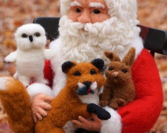 Needle Felted Christmas Santa, Fox, Rabbit and Owl in Chair - Needlefelted Wool Animal Soft Sculpture by McBride House