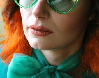 50's 90's Retro green tinted catseye clear frames & lenses sunglasses