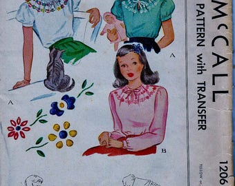 UNCUT * 1940s Vintage  McCall Sewing Pattern 1206  -  Girls' Blouse with Embroidery - Size 12, bust 30