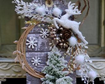 Holiday Christmas Tree Tag, Holiday Art Tag, Handmade Christmas Tag, OOAK Tag