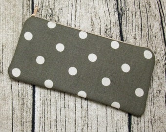 Large Zipper Pouch, Pencil Pouch, Gadget Bag, Cosmetic Bag - Polka dots (ZL-71)