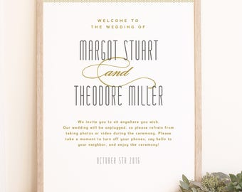 Instant DOWNLOAD Wedding Welcome Sign Template - Matchbook - Word or Pages MAC and PC - 18x24 or 24x36 - Editable Colors