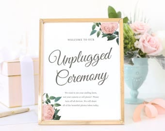 Unplugged Ceremony Sign, Turn off Phones and Cameras, Wedding Unplugged Sign, Printable Wedding Sign, Vintage Botanical | SUITE028