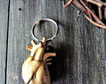 KEYCHAIN Gold Anatomical Heart Key Chain For Women Human Anatomy Keychain Key Holder Key Ring Key Fob Cute Unique Keychains Science Medical