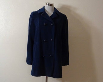 1950s Prince Cashmere Mink Tailored by Fishelle Dark Blue Mongolian Cashmere and Mink Double Breasted Jacket Sz S/M