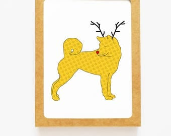 Holiday Shiba Inu Dog Reindeer Card for Christmas Greetings or Happy New Year Cards