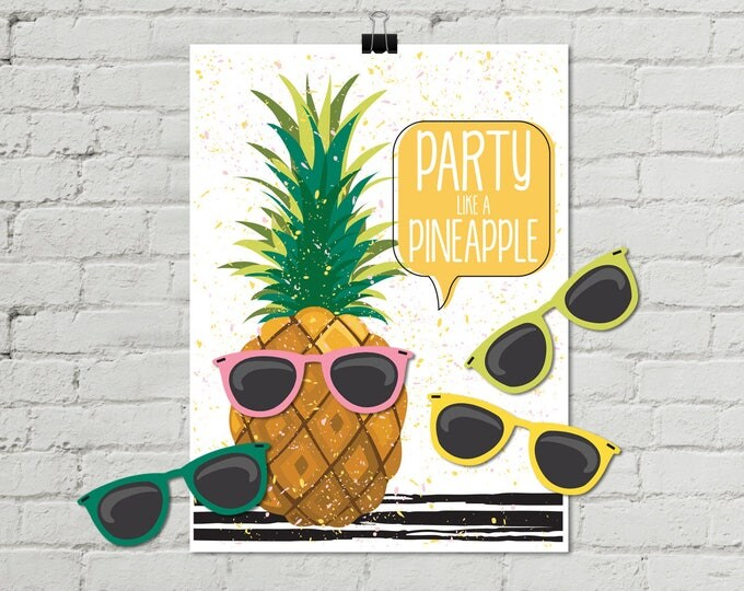Pineapple Party - Pin the Sunglasses Game - Party Like a Pineapple, Birthday Party, Summer | INSTANT Download PDF - Printable Game