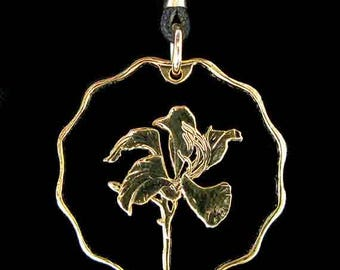 Cut Coin Jewelry - Pendant - China - Hong Kong - Bauhinia Flower