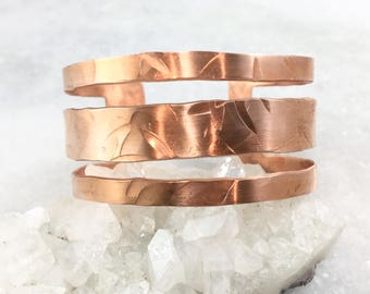 Hammered Cut-Out Copper Cuff | Wide Cuff | Adjustable