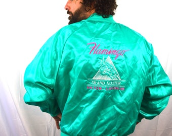 Vintage 1980s 90s Flamingo Casino Grand Master Jacket Hilton Laughlin Nevada - 2 XL