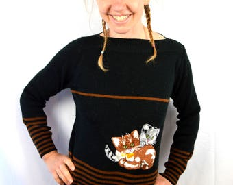 Cute Vintage Kitsch Cat Kitty Embroidered Sweater - Cyn Les Designs Shirlee Designs