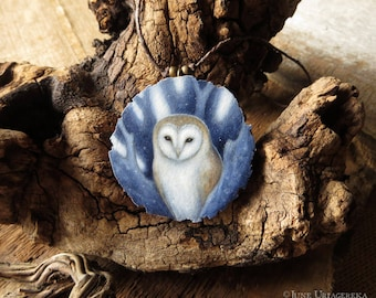 Barn Owl - Hand Painted Wooden Pendant