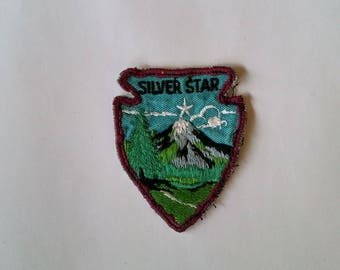 Vintage Boy Scouts of America badge 1960s Silver Star arrowhead patch featuring a mountain scene