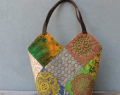 Bohemian Patchwork Bag, Patched Earthy Tote, Morocco Style Doilies and Fabrics with Leather Straps