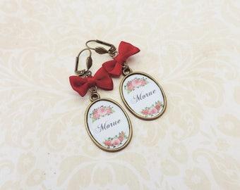 """Rude swear french words wine bow earrings """"morue""""  bronze"""