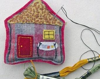 Wash Day Decor - Handmade OOAK Pincushion - Wool House - House Ornament - Laundry Room Decor - Ornament Pincushion - Decor - Felt Art