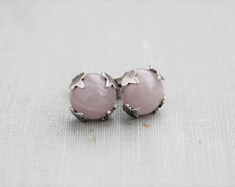 Rose Quartz Stud Earrings. Gemstone Earrings. Pink Earrings