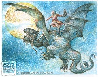Baron Riding a Dragon to the Moon - extraordinary adventures of Baron Munchausen watercolor illustration