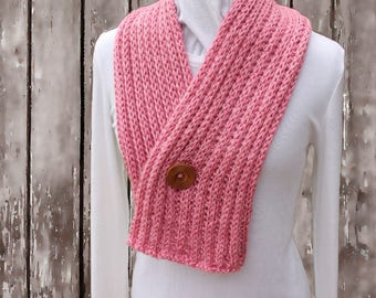 Pink Scarf, Pink Knit Scarves, Hand Knit Scarf with Wood Button, Pink Scarf with Button Closure, Soft Pink Knitted Scarf, Gift For Her