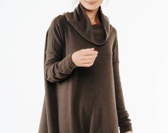 SALE - Brown dress | Brown maxi dress | Cowl neck dress | LeMuse brown dress