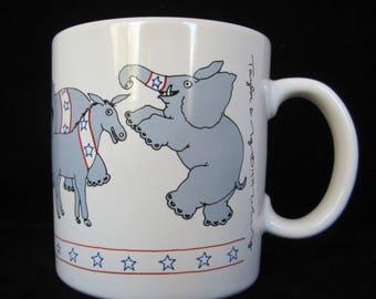 Taylor & Ng POLITICAL Mug 1979 Democrat Donkeys Republican Elephants ORIGINAL Not The REISSUE