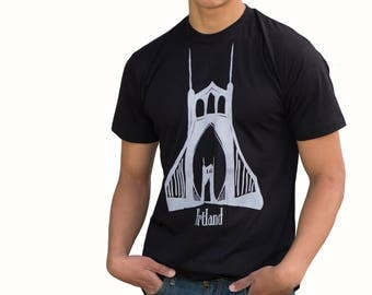 St. Johns Bridge| Portland| Soft Lightweight T Shirt| Hometown tees| Unisex| Crew and V-neck| Destination tshirt| Travel tees.