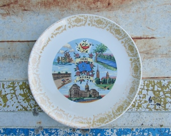 State Souvenir Plate Vintage Decorative Ideal Indiana
