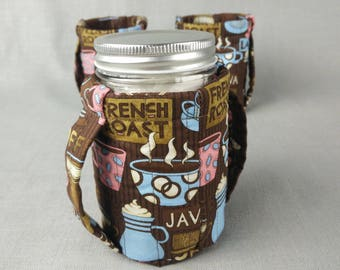 Pint Mason Jar Cozy for hot or cold liquids - Coffee print