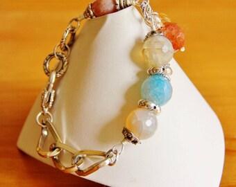 Crackle Agate bracelet, statement bracelet, big bold bracelet, big chunky bracelet, eco friendly jewelry, recycled upcycled repurposed, OOAK