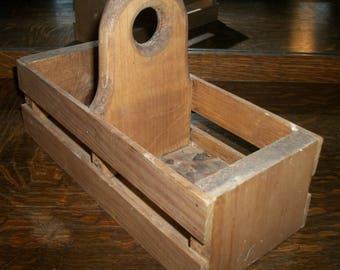 Vintage Wood Carrier Decorative Functional Centerpiece Organizer