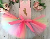 Rainbow Unicorn Tutu Dress | Rainbow Unicorn Birthday Tutu | Gold Unicorn Dress
