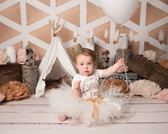Wild and One Gold Birthday Tutu | 1st Birthday Tutu | First Birthday Tutus | Baby Girls Birthday Outfit | Gold and Ivory