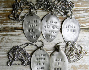 Spoon Necklace, Stamped Spoon Pendant Necklace Lot, Inspirational Quote Necklaces, Lot of 5 Pc. Silver Spoon Necklaces Scratch and Dent Sale