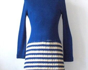 1960's Vintage Dress • Modern Knit Mini Dress • Blue and Ivory Mock Turtle Mini
