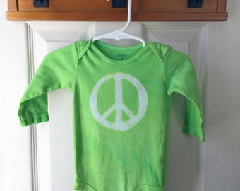 Peace Sign Bodysuit, Green Peace Sign Baby Bodysuit, Peace Baby Gift, Green Baby Gift, Gender Neutral Baby Gift, Hippie Baby (9 months)