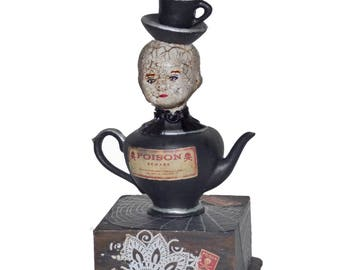 Altered Art Assemblage Doll - Mixed Media Art Doll - Creepy Doll Art - Gothic Art Doll - Teapot Teacup Doll Art - Dark Assemblage Art