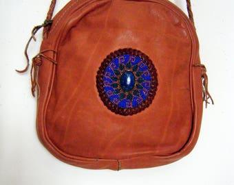 1970s mystical LAPIZ LAZULI & Leather PURSE, hand beaded hippie bag